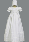 "Smocked bodice cotton long gown ""Marie"""