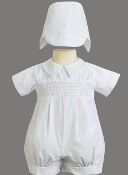 Smocked cotton romper-Jeremy