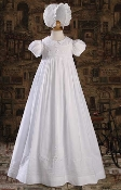"Baptism/Christening 33"" WHITE COTTON GOWN W/EMBROIDERY & PEARL"