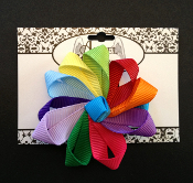Rainbow Grosgrain Flower Hair Bow/Clip