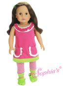 "18"" Doll A-Line Dress and Stripe Leggings"