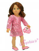 "18"" Doll  Pink Sequin Tunic Style Dress and Purse"