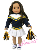 "18"" Doll Blue and Gold Cheerleader w/ Pom Poms"