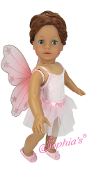"18"" Doll Pink Ballet Leotard,Tutu Skirt, Ballet Shoes and Wings"