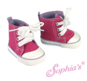 "18"" Doll Hot Pink/Lavender High Top Canvas Sneakers"