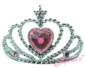 "18"" Doll Silver Jeweled Heart Tiara"