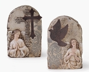 "6.5"" ANGEL STONE W/METAL CROSS/DOVE"