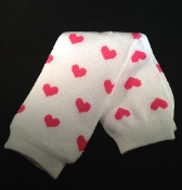 White with Hot Pink Hearts Legwarmers
