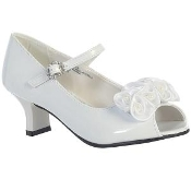 "Sweapea ""Nancy"" High Heel Shoe Open Toe Satin Flower"