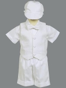 Poly cotton short set with basketweave vest and hat-Dexter
