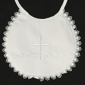 Embroidered cotton bib with lace trim