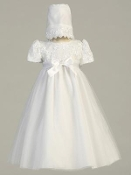 Embroidered satin ribbon bodice with tulle skirt and bonnet