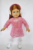 "18"" Doll Pink Sequin Dress/Earmuffs"