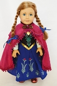 "18"" Doll Princess Anna Gown/Cape 3pc"