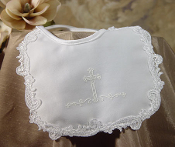 Girls White Cross Trim Bib
