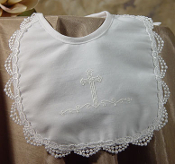 Girls White Cotton Bib w/Lace