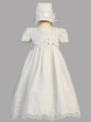 Embroidered organza dress with bonnet-Candice
