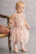 Baby Biscotti Infant Girls Peachy Pink Ruffle Silk Dress