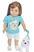 "18"" Doll Blue Maltese Top & Short Set"