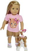 "18"" Doll Pink Kitten Top & Short Set"
