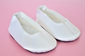 "18"" Doll White Satin Slip Ons"