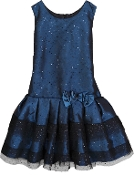 Isobella & Chloe Navy Midnight Star Drop waist Dress