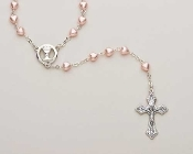Pink Pearl Heart Communion Rosary
