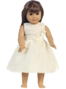 "18"" Doll Embroidered Tulle Dress w/Bow"