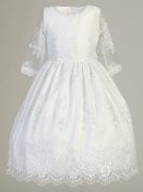 White Embroidered Organza/Pearl Bodice/Organza Skirt Comunion Dr