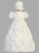 Taffeta bodice with gathered taffeta skirt and bonnet
