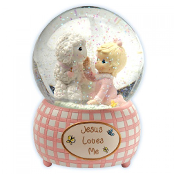 Jesus Loves Me - Girl Musical Water Globe - Precious Moments