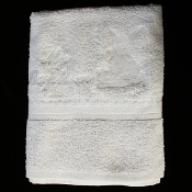 Christening towel with white embroidered angel