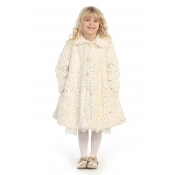 Angels Garment Little Girls Ivory Faux Fur Coat w/Sequence,Communion,Communion Dress,First Holy Communion,First Holy Communion Dress,First Holy COmmunion Suit,Communion Suit Mississauga,Communion Dress Mississauga