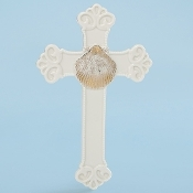 "9""H Porcelain Baptismal Cross w/Shell"