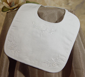 Girls White Hand Embroidered Cotton Bib