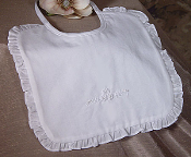 Girls White Cotton Bib with Ruffles