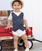 Ruggedbutts Ivory w/Gray Pinstripe Vest One Piece