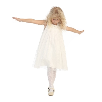 Angels Garment Off-White Mesh Over Charmeuse Dress,flower girl dress,flower girl dress toronto,flower girl dress oakville,flower giel dress mississauga,flower girl dress brampton, flower girl dress gta,flower girl dress canada,flower girls
