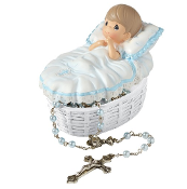 Baptized In His Name Trinket Box/Rosary - Boy - Precious Moments