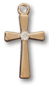 18kt Gold Plated Cross w/Crystal on 18in Chain
