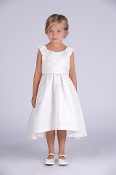 Isobella & Chloe Ivory Satin Dress w/Flowers,Communion,Communion Dress,First Holy Communion,First Holy Communion Dress,First Holy COmmunion Suit,Communion Suit Mississauga,Communion Dress Mississauga,Communion Shoes,Communion