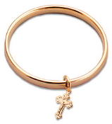 Gold Plated Baby Bangle w/Cross
