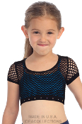 Kids Rhinestone Band Fishnet Crop Top Black
