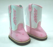 "18"" Doll Pink and White Cowboy Boots"