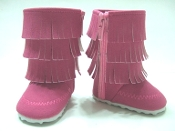 "18"" Doll Pink Fringed Boots"