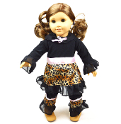 "18"" Doll 2pc Black/Leopard Ruffle Tunic & Pant Set"