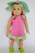 "18"" Doll Flower Beach Dress & Hat Set"