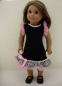 "18"" Doll Black Dress w/Pink Tulle Trim"