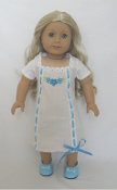 "18"" Doll Carolines Nightgown & Blue Shoe Set"