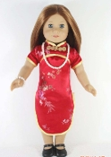 "18"" Doll Red Chinese Dress"